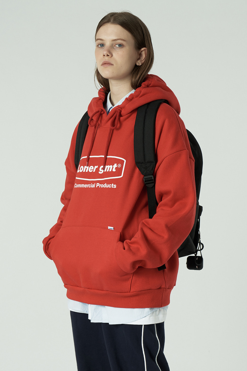 [20SS OPEN SALE][L] Curve rectangle logo hoodie-red (기간한정 01.17 - 01.23)