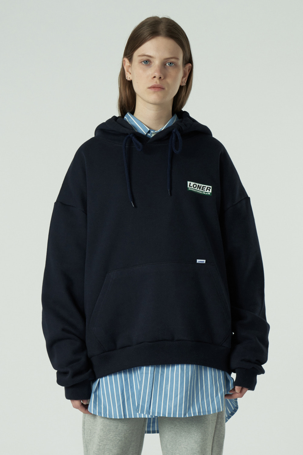 [20SS OPEN SALE][L] Triple Square printing hoodie-navy (기간한정 01.17 - 01.23)