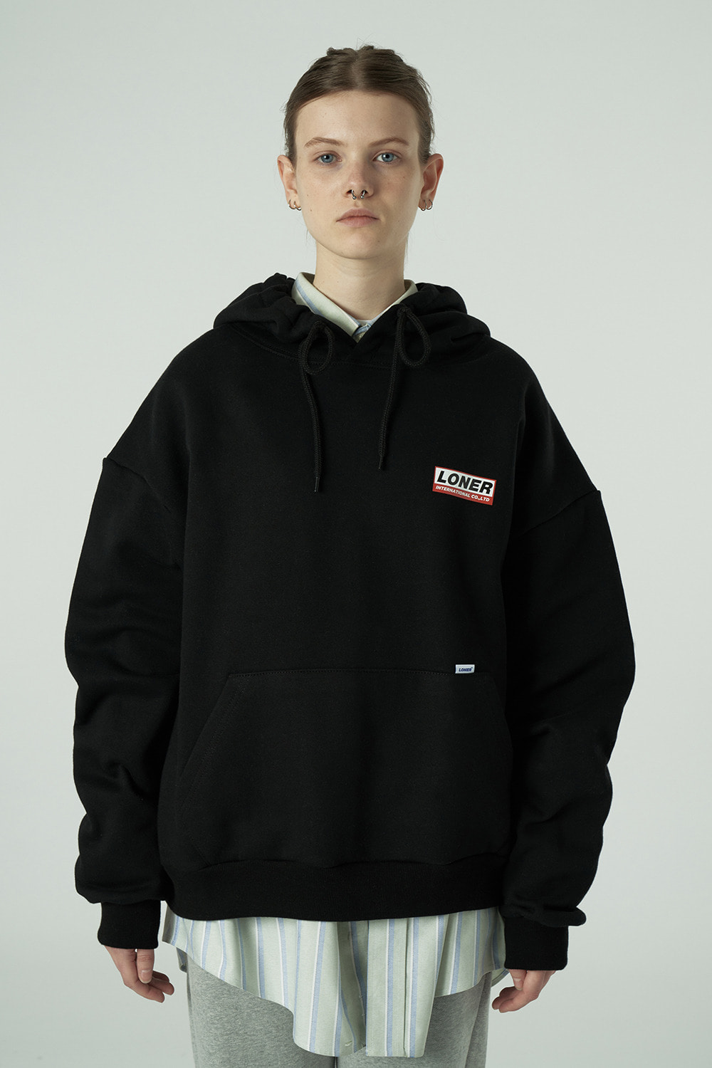 [20SS OPEN SALE 01.17 - 01.23][L] Triple Square printing hoodie-black