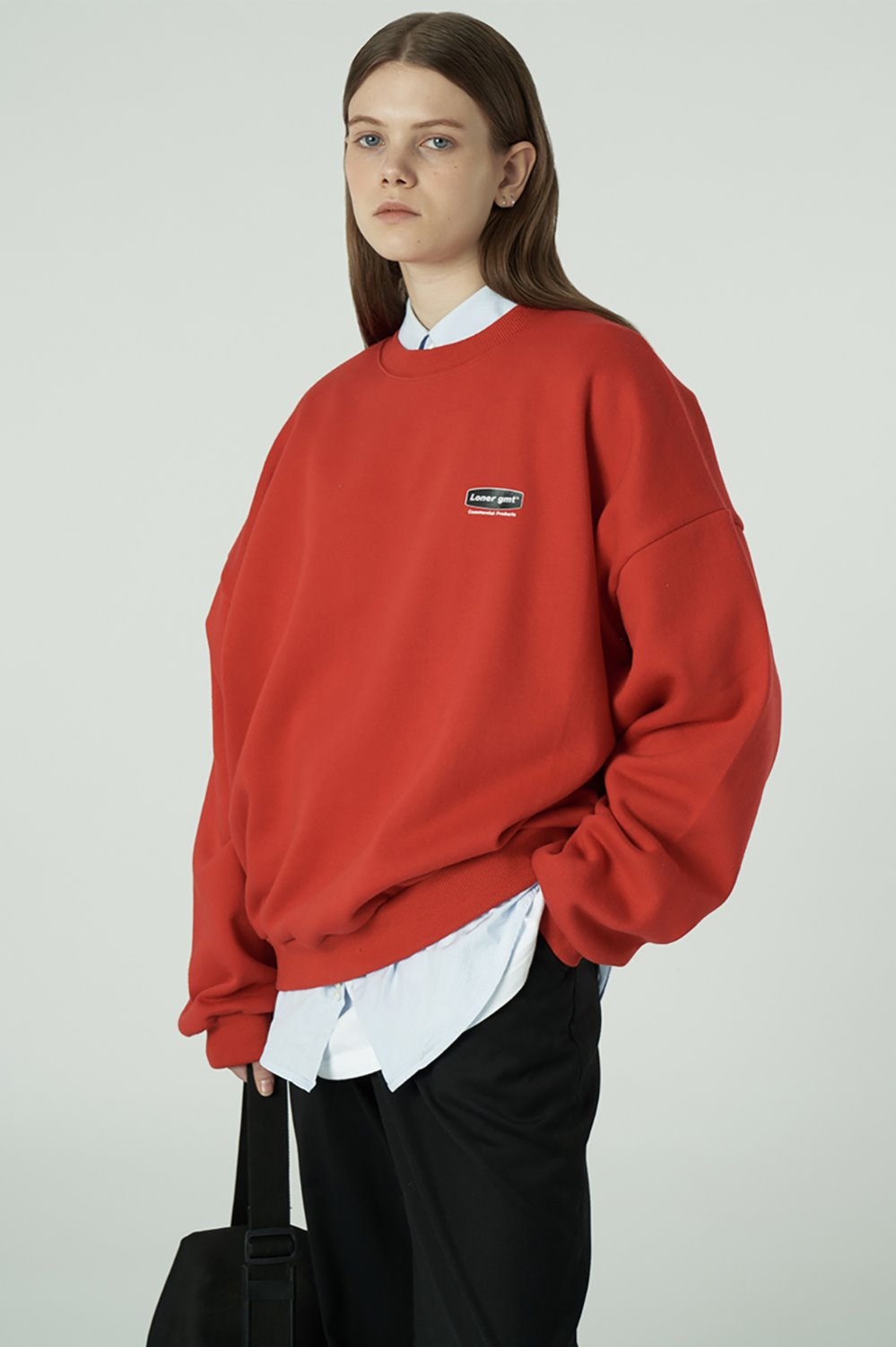 [20SS OPEN SALE][L] Small curve rectangle logo sweatshirt-red (기간한정 01.17 - 01.23)